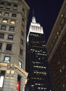 The Empire State Building at night.